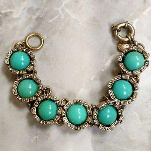 J Crew Gold Turquoise Green Stones Chain Bracelet